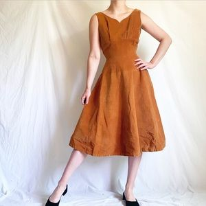 "Vintage 1950s ""Spiegel"" Dark Tan Corduroy Dress"